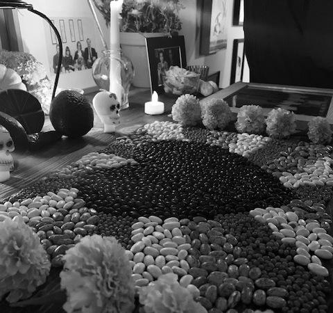 Día de los Muertos artwork made of beans