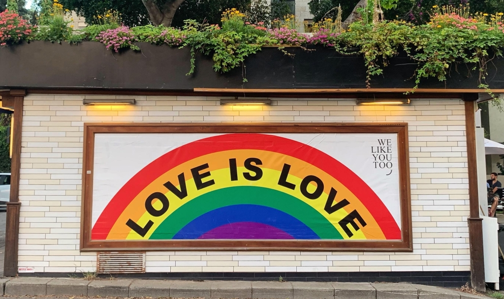 Rainbow Love Is Love sign